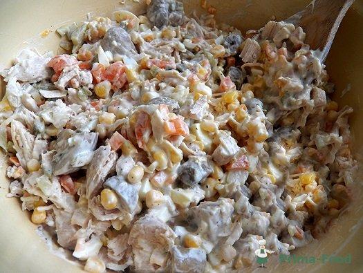 слат из шампиньоны грибов для