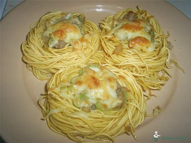 Рецепты макаронных гнезд фото