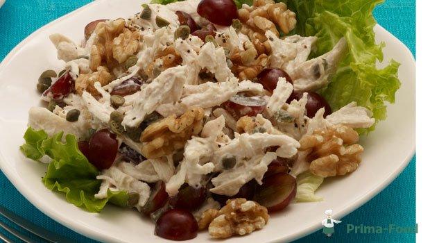 Салат с курицей грибами сыром и виноградом рецепты с